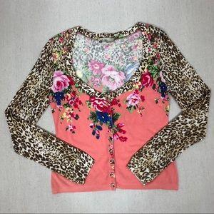 Blumarine Floral & Leopard Print Cardigan